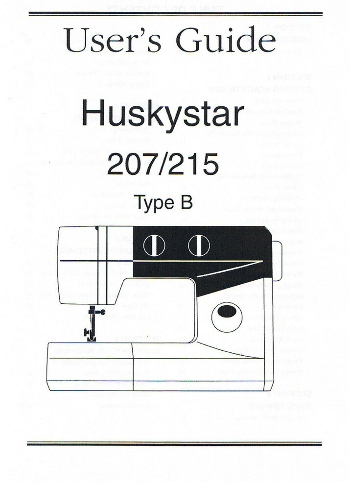Husqvarna Viking Huskystar 207 215 225 Owners User