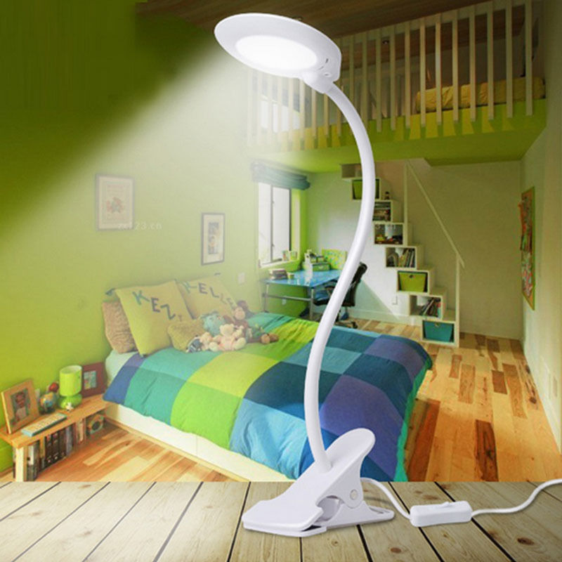 Adjustable USB LED Reading Light Clip On Clamp Bed Table