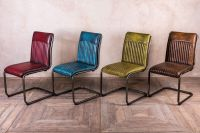RETRO STYLE UPHOLSTERED DINING CHAIR LEATHER LOOK