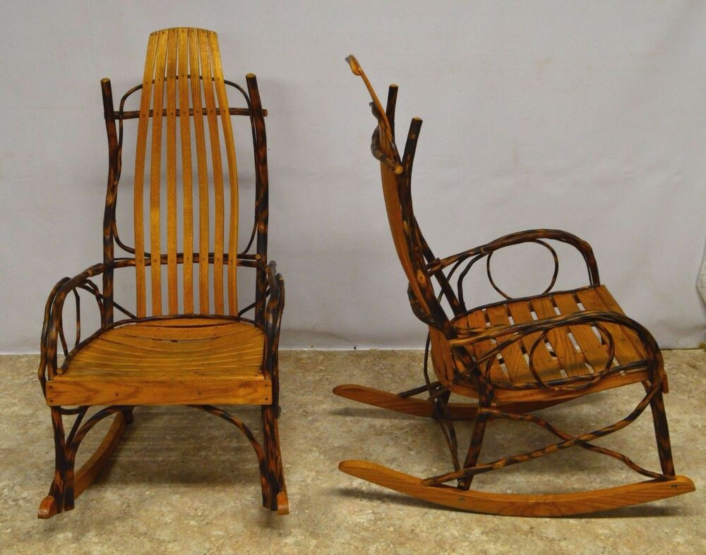 Pair of Amish Hickory Oak Bentwood Rocking Chairs  eBay