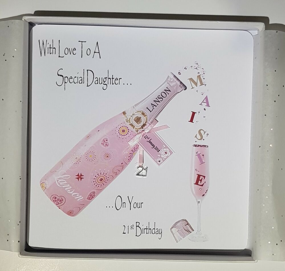 Personalised 21st Birthday Card Daughter Pink Champagne