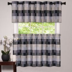 Black Kitchen Curtains And Valances Craftsman Style Cabinets Window Curtain Classic Harvard Checkered, Tiers Or ...