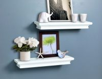 Decorative White Wall Shelves Set Of 2 pcs 714983955676 | eBay