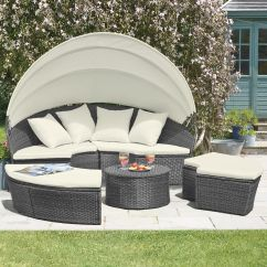 Outdoor Rattan Sofa Uk Sectional Chaise Slipcover Daybed & Table Garden Furniture Patio ...