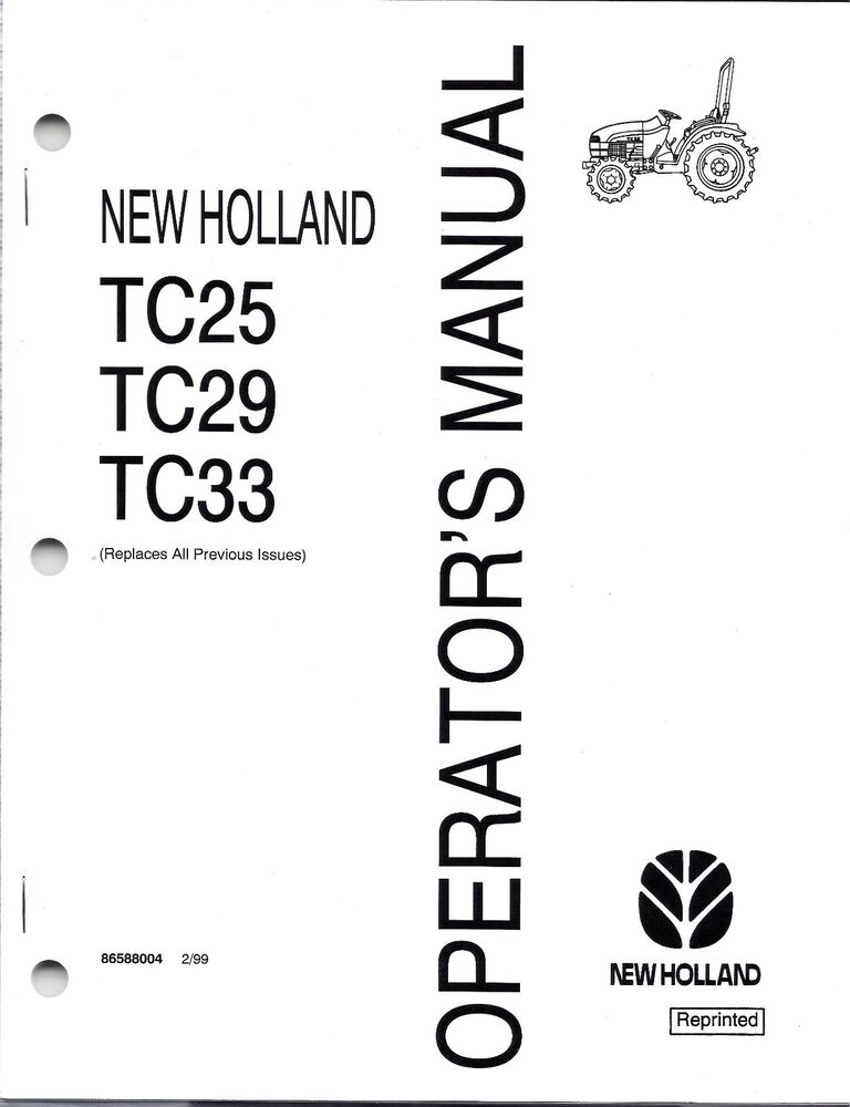 New Holland TC25, TC29, TC33 Tractor Operator's Manual