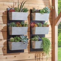 3pc Galvanized Flower Wall Stand Planter Pot Vertical