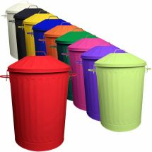 2 X 90l Colour Metal Dustbin House Garden Bin With Special