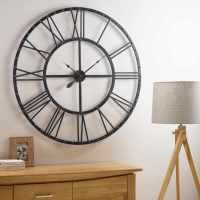 SKELETON GARDEN WALL CLOCK BIG ROMAN NUMERALS LARGE OPEN
