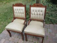 2 ANTIQUE EASTLAKE WALNUT CARVED PARLOR CHAIRS | eBay