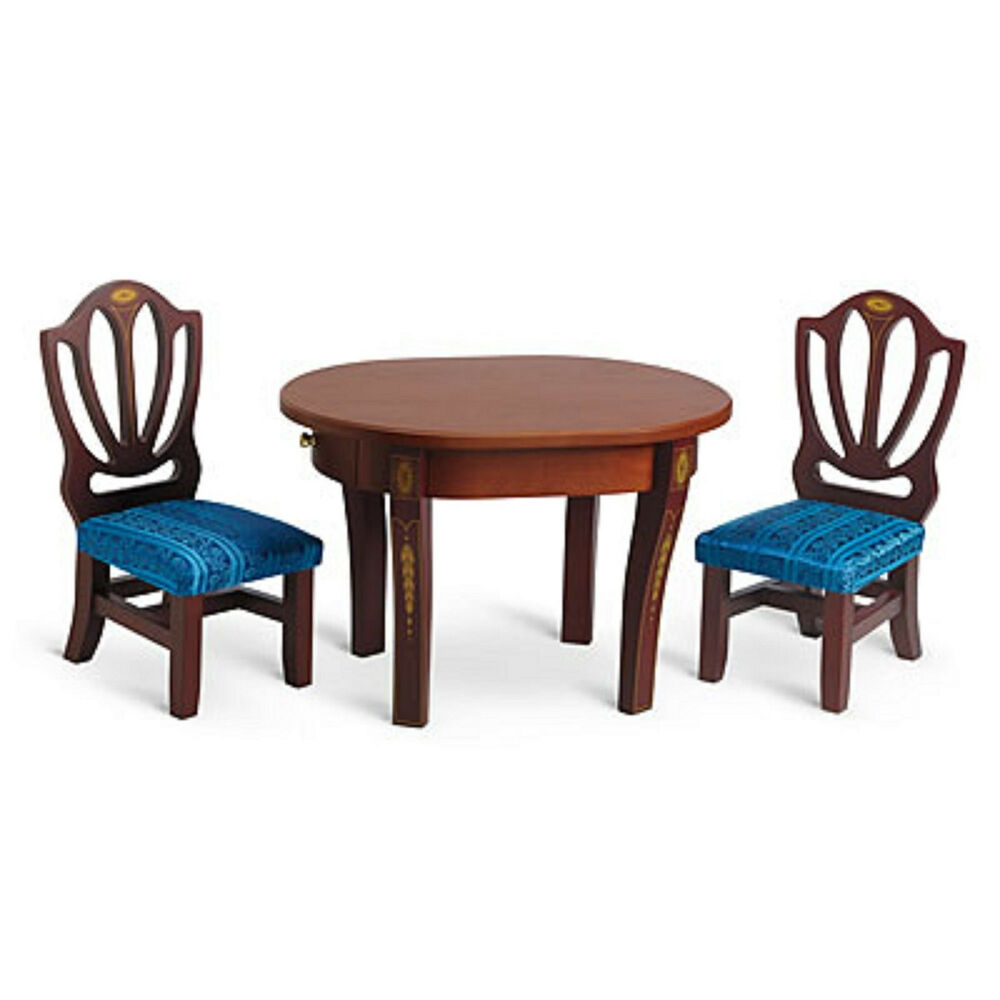 18 doll table and chairs lounge chair metal legs american girl caroline for wood furniture details about dining new