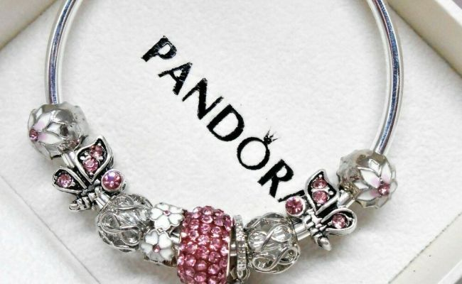 Authentic Pandora Silver Bangle Charm Bracelet With Pink