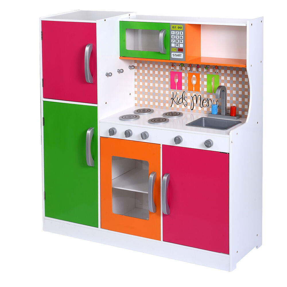 New Wood Kitchen Toy Kids Cooking Pretend Play Set Toddler Wooden Playset Gift  eBay