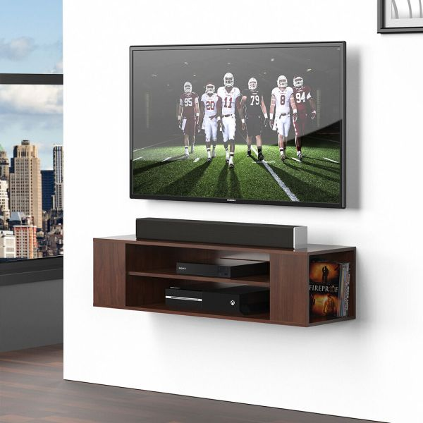 Wall Mount Tv Stand Floating Wood Shelves Dvd Storage