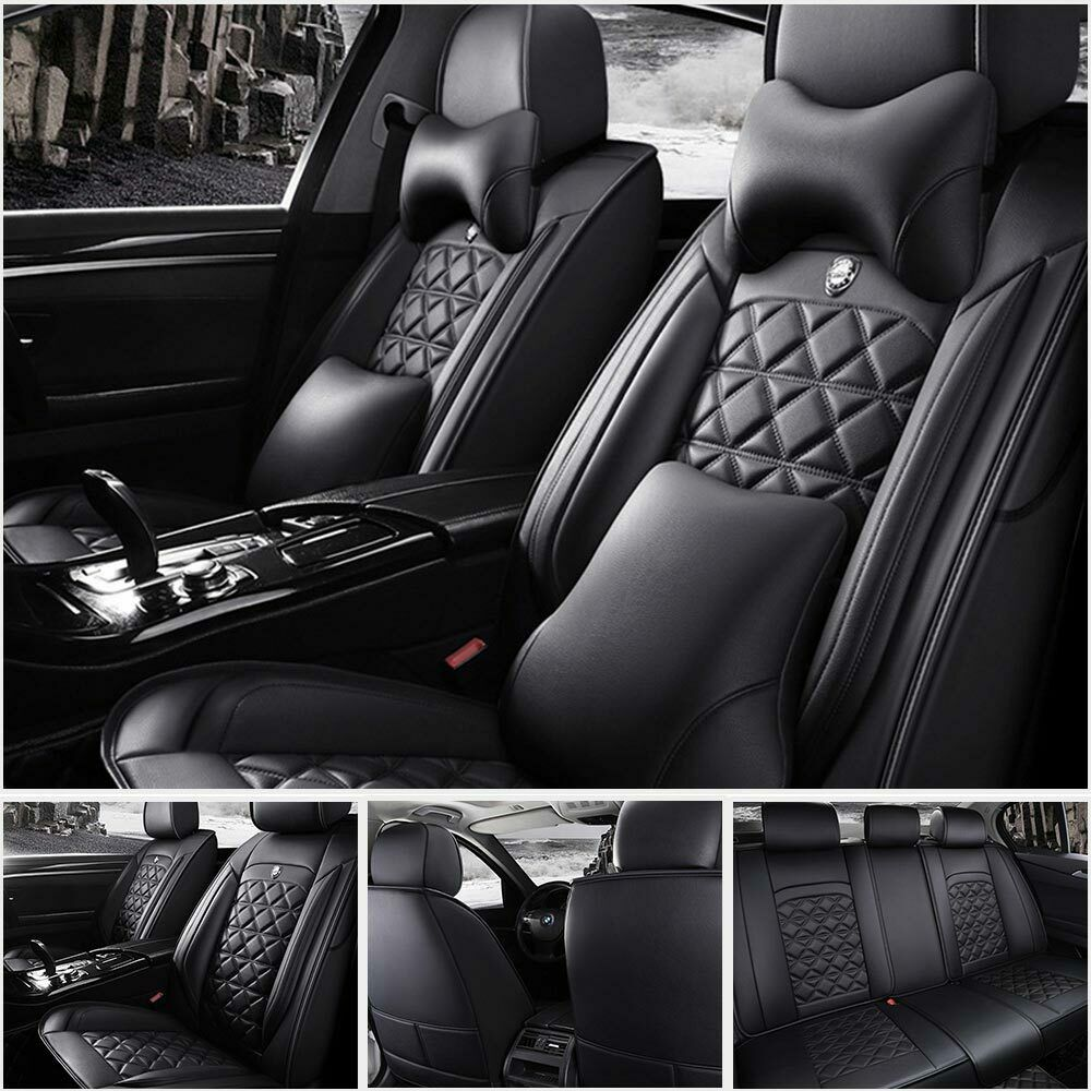 US Top Microfiber Leather 5Seats Car Seat Cover Cover FrontRear Cushion SizeL 602693000246  eBay