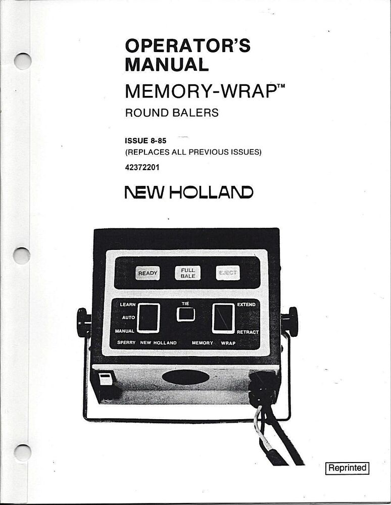 New Holland 848,853,855 Round Baler Operator Manual Memory