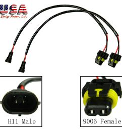 details about h11 h8 h9 male to 9005 9006 hb4 female wiring harness ballast conversion socket [ 1000 x 1000 Pixel ]