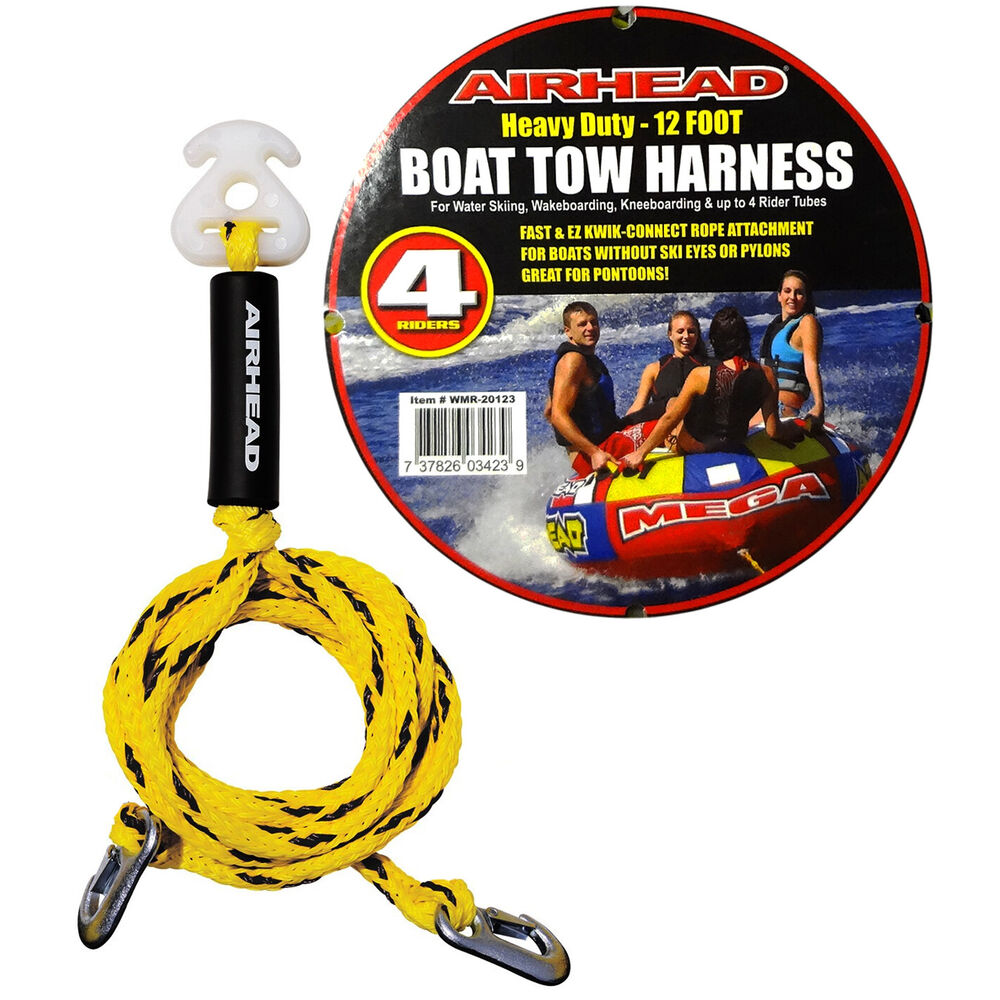 medium resolution of airhead heavy duty 12ft boat tow rope harness 4 rider ski tube towable wakeboard 737826034239 ebay
