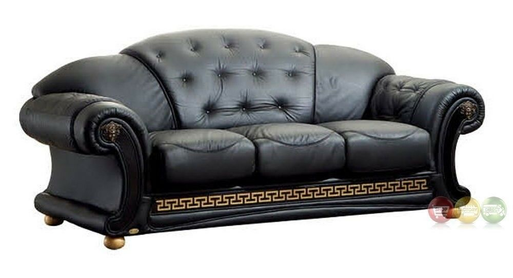 leather sofa deals free shipping sleeper with removable cover versace luxurious button tufted black genuine italian ...