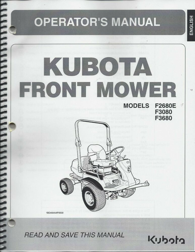 Kubota F2680E, F3080, F3680 Mower + Deck Operator Manual