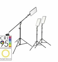 details about 45w slim profiled daylight balanced led panel three head kit boom stand [ 1000 x 1000 Pixel ]