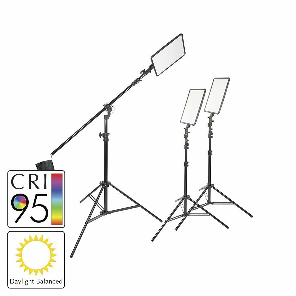 hight resolution of details about 45w slim profiled daylight balanced led panel three head kit boom stand