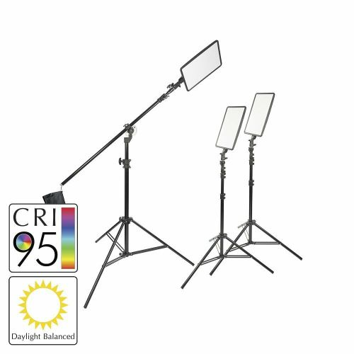 small resolution of details about 45w slim profiled daylight balanced led panel three head kit boom stand