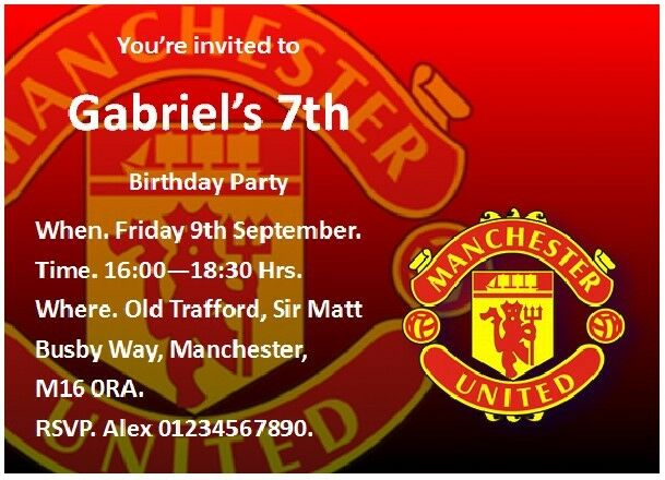20 Manchester United Birthday Party Invitations With FREE