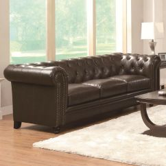 Tufted Brown Leather Sofa Company Uk Traditional Button Bonded Living Room Details About Furniture
