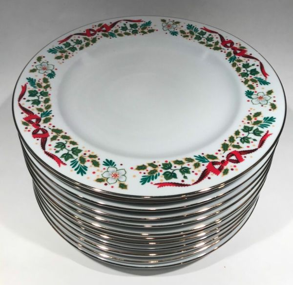 Set Of 12 Domestications - Days Christmas Dinner Plates Holly & Bows 1994