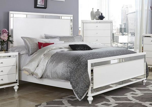 white king bedroom furniture sets GLITZY 4 PC WHITE MIRRORED KING BED N/S DRESSER & MIRROR BEDROOM FURNITURE SET | eBay