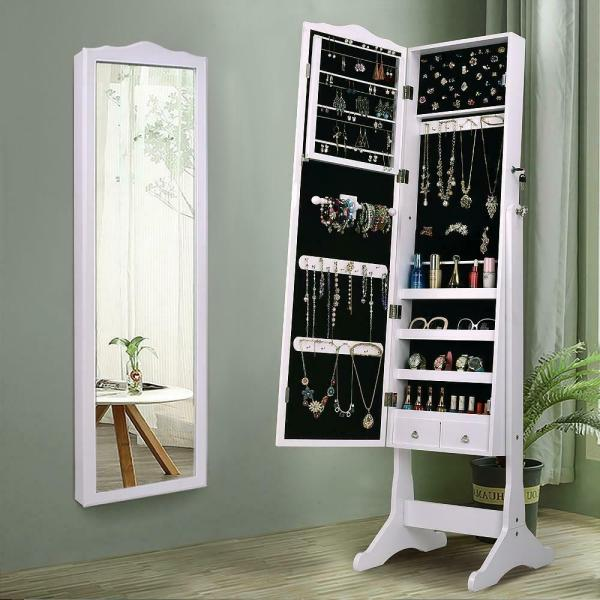 Lockable Mirrored Jewelry Cabinet Armoire Mirror Organizer Storage Box With Stand 653801892543