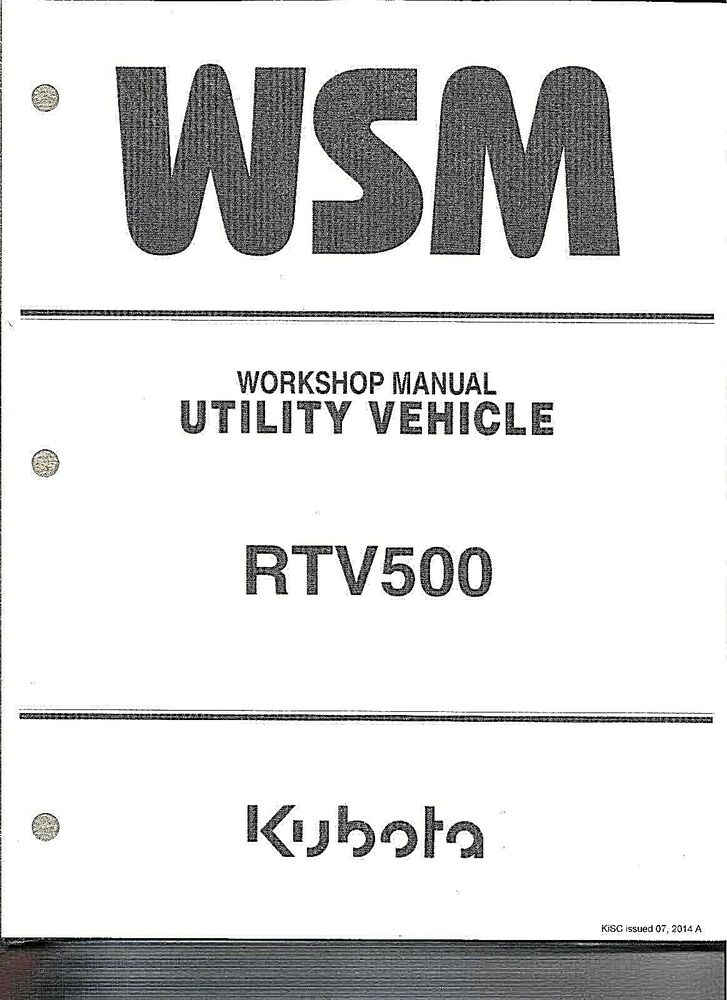 KUBOTA RTV500 (side by side) WORKSHOP SERVICE REPAIR