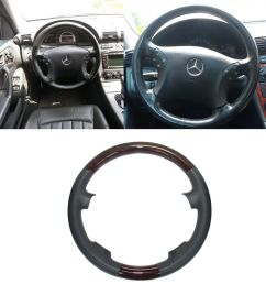 details about gray leather wood steering wheel cover decor for 00 07 mercedes w203 c c240 c320 [ 1000 x 1000 Pixel ]