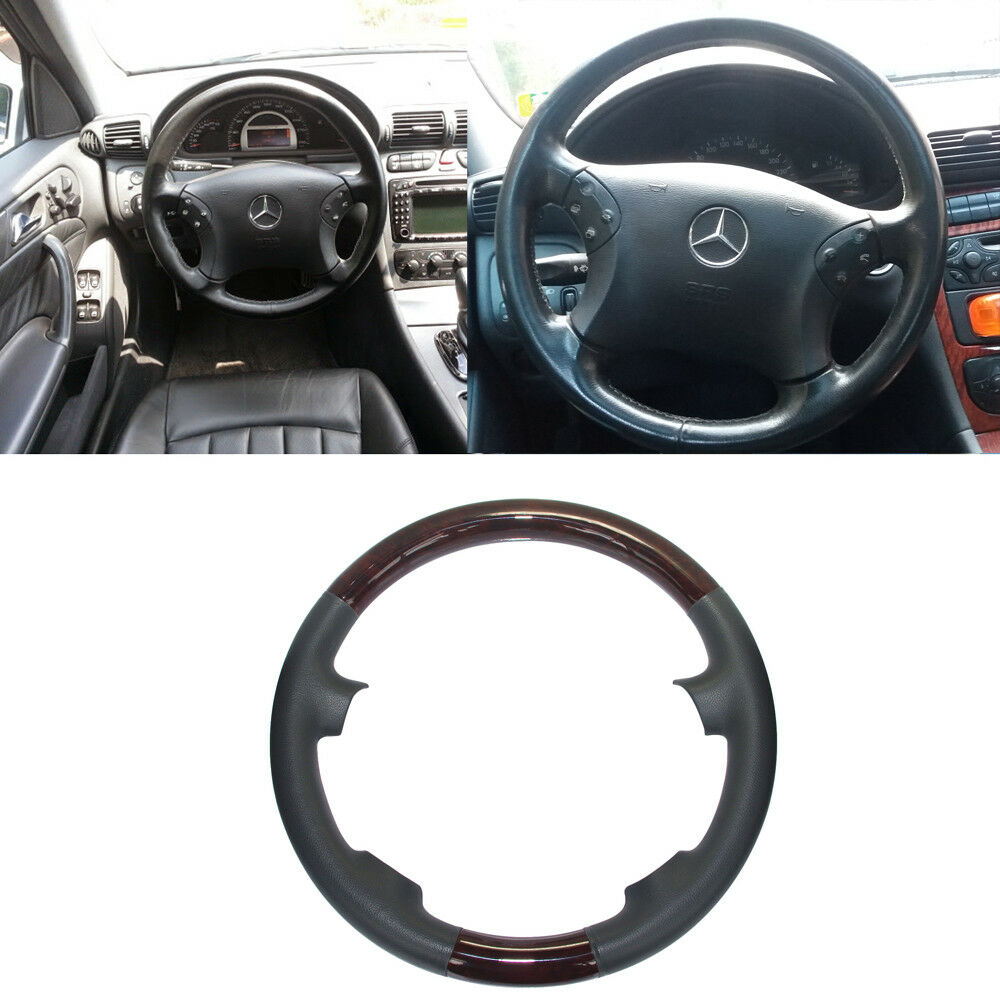 hight resolution of details about gray leather wood steering wheel cover decor for 00 07 mercedes w203 c c240 c320