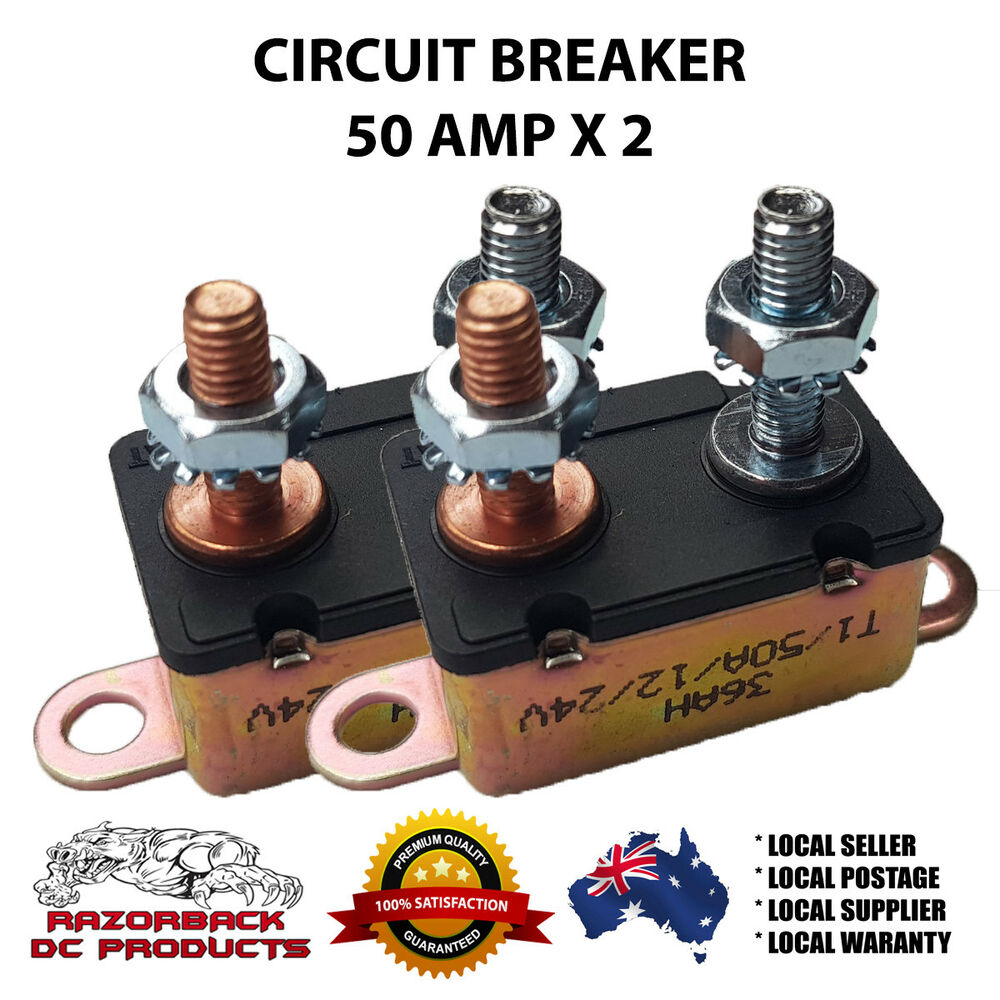 medium resolution of details about 2x auto reset circuit breaker 50 amp 12v fuse dual battery car caravan boat hd
