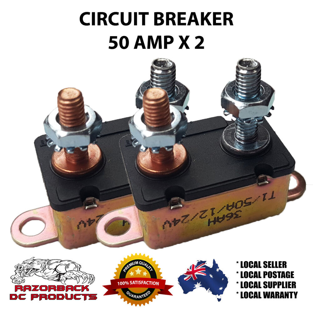 hight resolution of details about 2x auto reset circuit breaker 50 amp 12v fuse dual battery car caravan boat hd