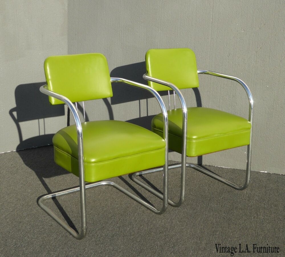 Lime Green Chairs Pair Of Vintage Mid Century Modern Lime Green Chrome Accent Chairs Ebay