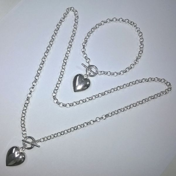 Sterling Silver 925 Rolo Chain Toggle Clasp Necklace And