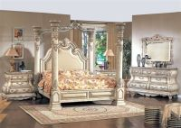 Traditional King White Leather Poster Canopy Bed 4 pc ...