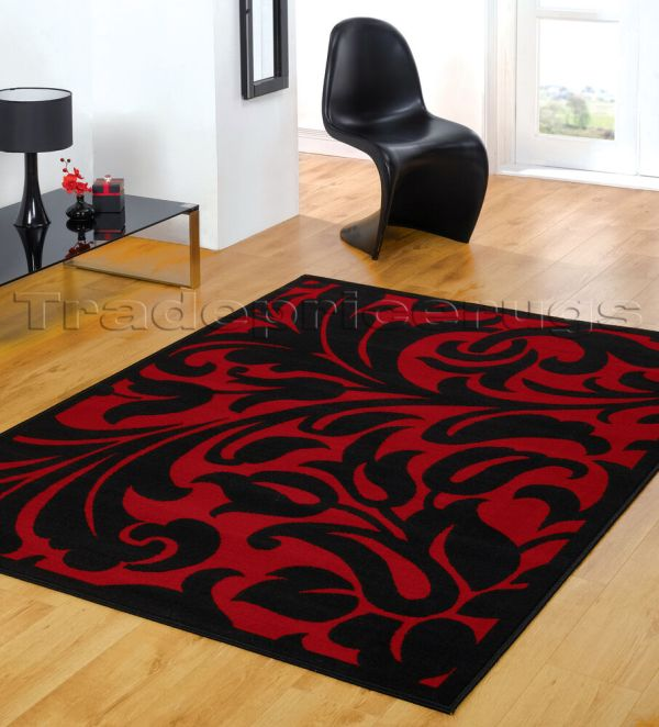 Small - Extra Large Black & Red Modern Damask Area Floor