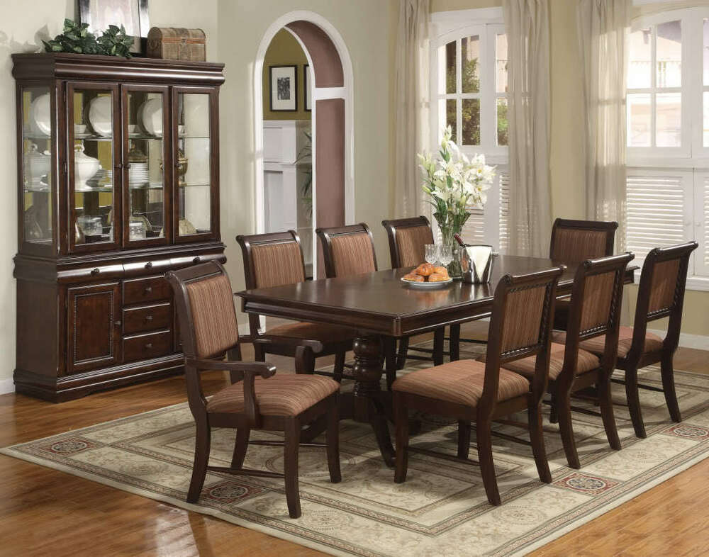 Merlot 7 Piece Formal Dining Room Set Table 4 Side Chairs 2 Arm Chairs  eBay