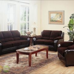 3 Piece Microfiber Sectional Sofa With Chaise Leather Ikea Monika Chocolate Sofa, Loveseat & Chair Casual ...