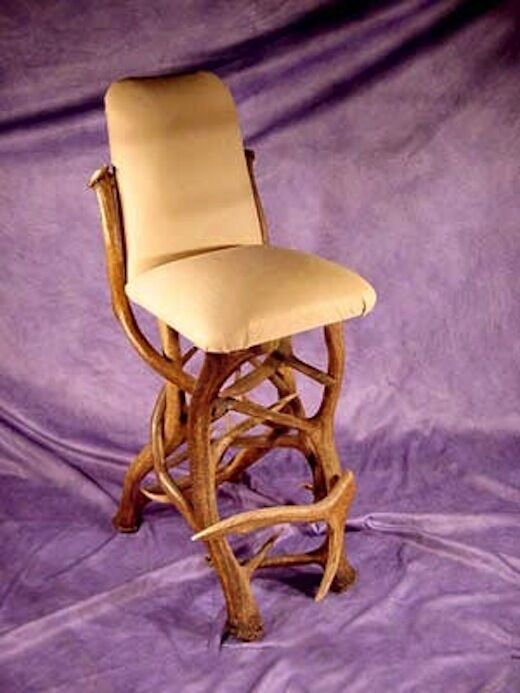 chair stool with back rio gear real antler elk bar buffalo hide furniture chandelier, | ebay