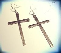 Large Antique Hanging Silver Cross Earrings -Vintage ...