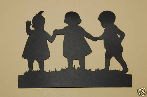 Cricut 3 Children Holding Hands Silhouette Cardstock Die