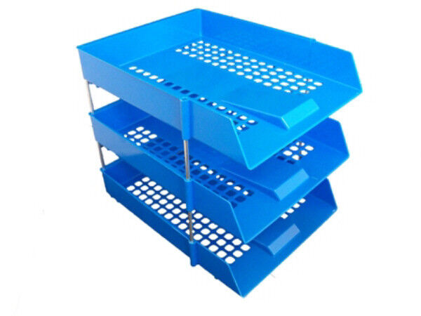 3x Stackable Filing Letter Trays BLUE  RisersRods InOut