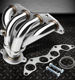 stainless racing manifold header exhaust 01 05 honda civic ex 1 7l d17a2 4 cyl ebay [ 1000 x 1000 Pixel ]