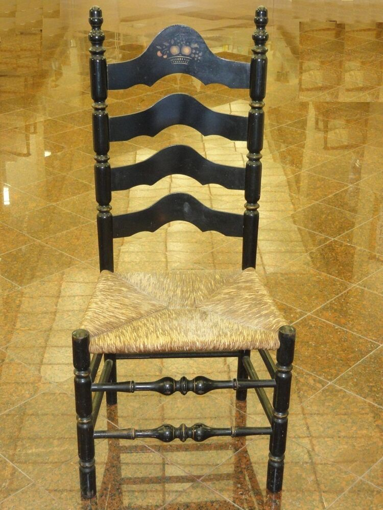 ANTIQUE LANCASHIRE CHESHIRE STYLE LADDER BACK CHAIR w