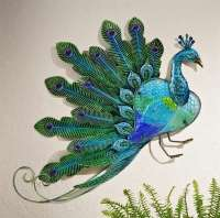 "20.9"" BLUE & GREEN PEACOCK INDOOR OUTDOOR METAL& GLASS ..."