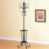 Flower Looks Black Metal Coat Rack Hanger Hall Tree with